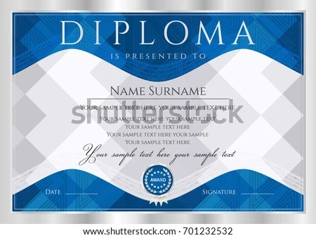 Diploma Certificate Completion Abstract Design Template Stock Vector