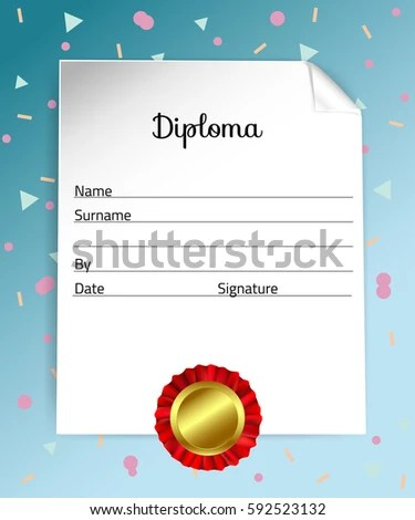 Diploma Template Kids Certificate Background Preschool Stock Vector