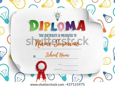 Diploma Template Kids School Preschool Playschool Stock Vector
