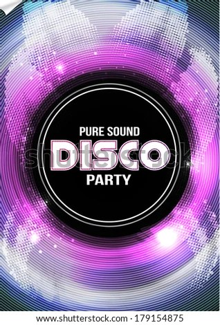 Disco Party Flyer Background Template Vector Stock Vector (Royalty