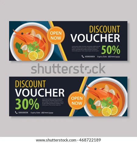 Discount Voucher Template Thai Food Flat Stock Vector (Royalty Free