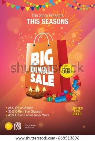 Diwali Festival Sale Poster Design Template Stock Vector (Royalty