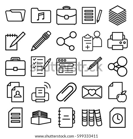 Document Icons Set Set 25 Document Stock Vector (Royalty Free