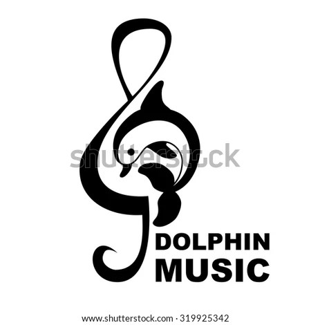 Dolphin Treble Clef Music Logo Vector Stock Vector (Royalty Free