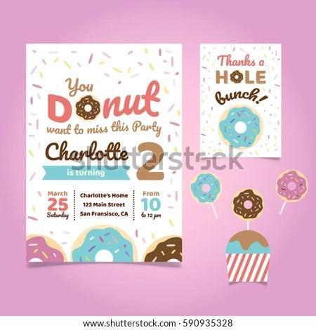 Donut Theme Birthday Invitation Template Stock Vector (Royalty Free
