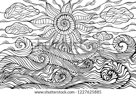 Doodle Sun Clouds Ocean Waves Coloring Stock Vector (Royalty Free