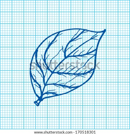 Drawing Leaves On Graph Paper Vector Stock Vector (Royalty Free