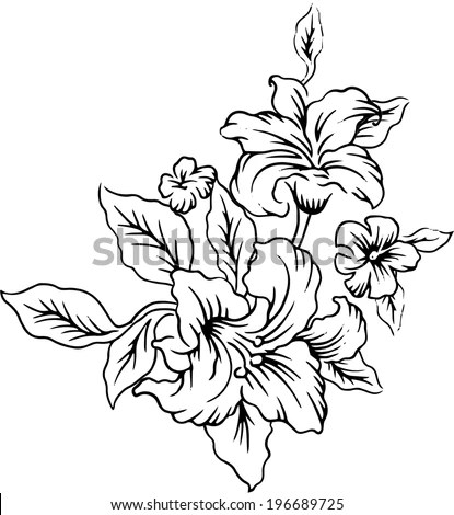 Drawings Bouquet Beautiful Flowers Stock Vector (Royalty Free