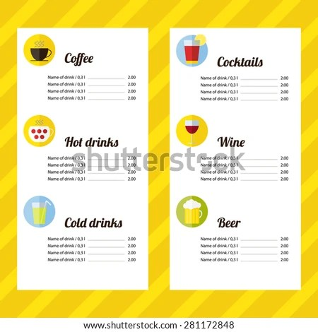 Drink Menu Template Icons Flat Design Stock Vector (Royalty Free