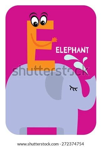 E Elephant Alphabet Flashcards Template Baby Stock Vector (Royalty