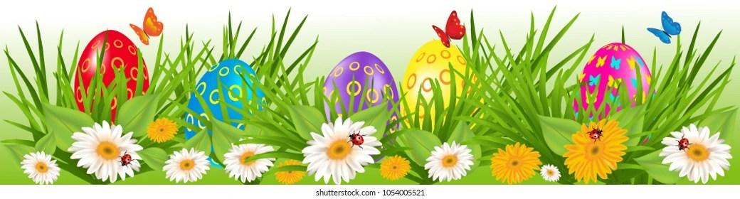 Easter Eggs Border Multicolored Eggs Grass Stock Vector (Royalty