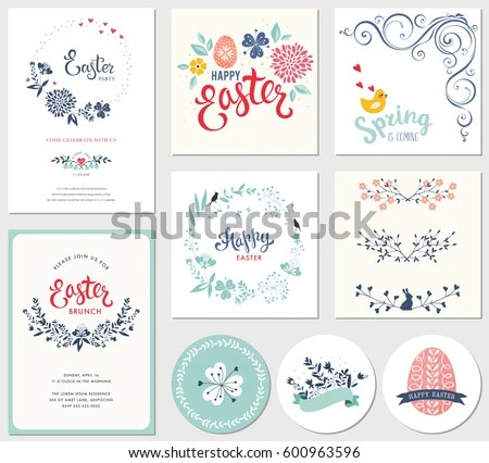 Easter Templates Eggs Flowers Floral Wreaths Stock Vector (Royalty