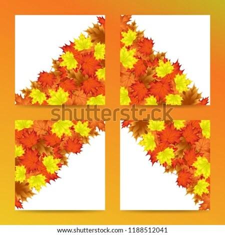 Editable Template Autumn Leaf Motif Everything Stock Vector (Royalty