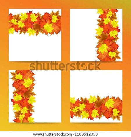Editable Template Autumn Leaf Motif Everything Stock Vector (Royalty