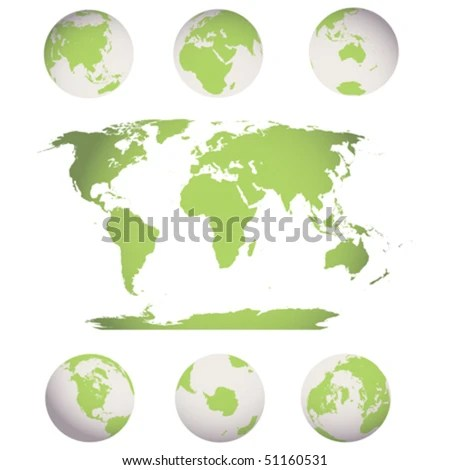 Editable World Map Earth Globes Stock Vector (Royalty Free) 51160531