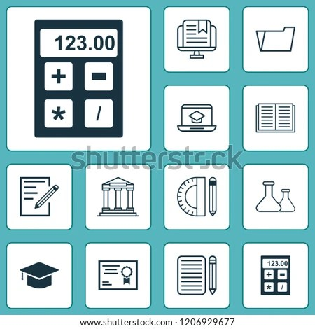 Education Icons Set Notebook Essay Writing Stock Vector (Royalty