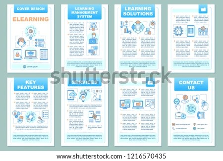 Elearning Brochure Template Layout Online Learning Stock Vector