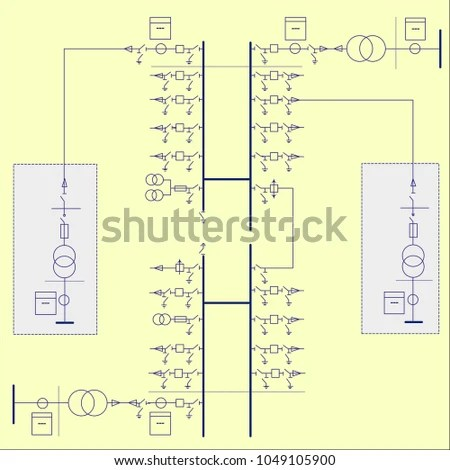 Electric Wiring Diagram Power Transformers Stock Vector (Royalty