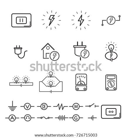 Electrical Signs Equipment Editable Stroke Vector Stock Vector
