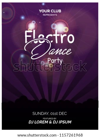 Electro Dance Party Poster Flyer Design Stock Vector (Royalty Free