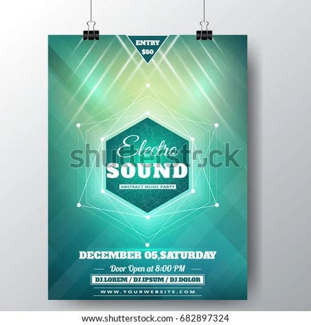 Electronic Sound Poster Template Stock Vector (Royalty Free