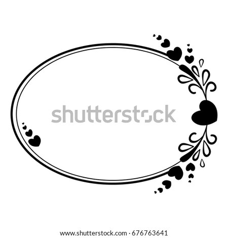 Elegant Black White Oval Frame Silhouette Stock Vector (Royalty Free