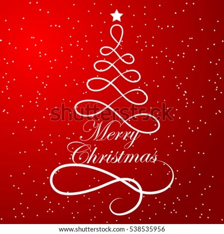 Elegant Christmas Tree Composed Lines On Stock Vector (Royalty Free