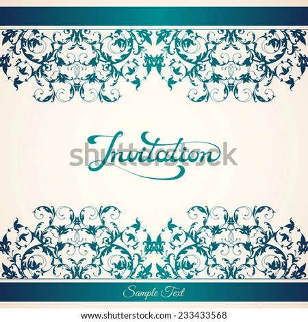 Elegant Invitation Template Calligraphic Inscription On Stock Vector
