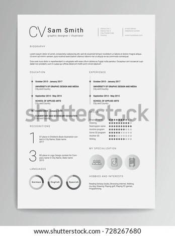 Elegant Minimalistic Modern Vector Resume CV Stock Vector (Royalty