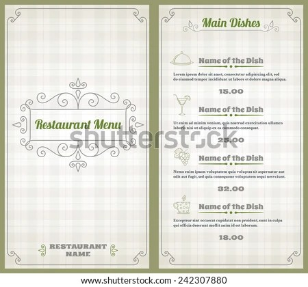 Elegant Restaurant Menu List Decorative Elements Stock Vector