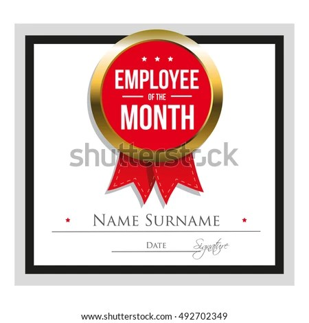 Employee Month Certificate Template Stock Vector (Royalty Free