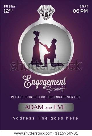 Engagement Invitation Card Design Stock Vector (Royalty Free