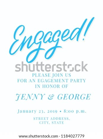 Engagement Party Invitation Template Stock Vector (Royalty Free