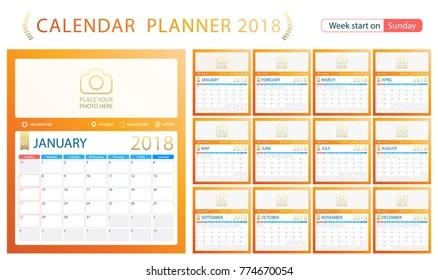 2018 Calendar Planner Week Start On Stock Vector (Royalty Free
