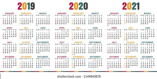 Italian Calendar 2019 2021 Week Starts Stock Vector (Royalty Free