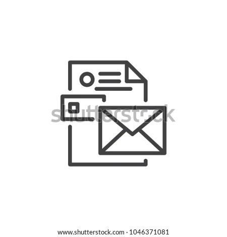Envelope CV Resume Outline Icon Linear Stock Vector (Royalty Free