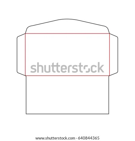 Envelope DL Size Die Cut Template Stock Vector (Royalty Free