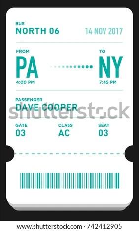 E Ticket Boarding Pass Card Template Bar Stock Vector (Royalty Free