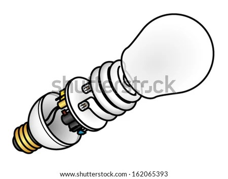 Exploded Diagram CFL Compact Fluorescent Lamp Stock Vector (Royalty