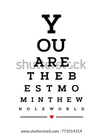 Eye Chart Snellen Wall Word Typography Stock Vector (Royalty Free