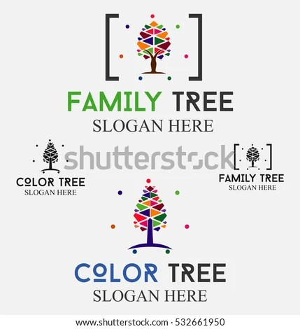 Family Tree Logo People Color Tree Stock Vector (Royalty Free