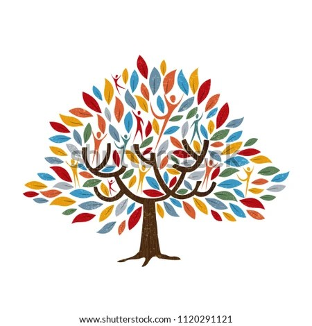 Family Tree Symbol People Color Leaves Stock Vector (Royalty Free