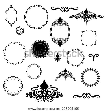 Fancy Design Elements Vector Black White Stock Vector (Royalty Free