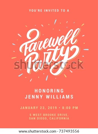 Farewell Party Invitation Template Stock Vector (Royalty Free
