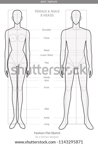 Fashion Body Template FEMALE MALE 8 Stock Vector (Royalty Free