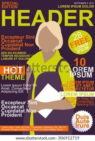 Fashion Magazine Editable Template Cover Purple Stock Vector