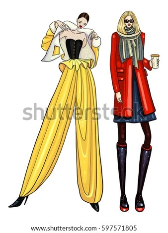 Fashion Vector Illustration Posing Women Modern Stock Vector