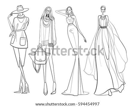 Fashion Vector Illustration Women Modern Clothes Stock Vector