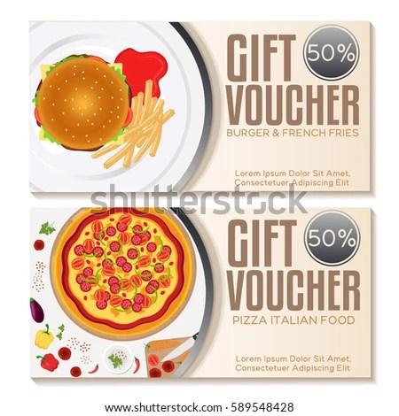 Fast Food Discount Voucher Template Vector Stock Vector (Royalty