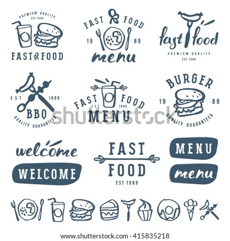 Fast Food Labels Template Brush Drawing Stock Vector (Royalty Free